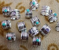 50 Lot Spinner Ring Turquoise Amethyst 925 Sterling Silver Plated All Size B-359