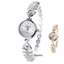 Women's Wrist Watch Silver Gold Tone Steel Band Crystal Accent Ladies Gift Box
