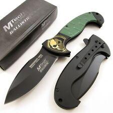 SPRING-ASSIST FOLDING POCKET KNIFE | Mtech Black Skull Blade Green Tactical EDC