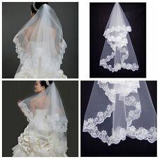 1.5M Mantille Voile Mariée Blanc Mariage Cathédrale Bord Dentelle Longueur Bride