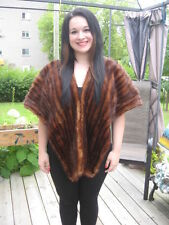 vintage muskrat fur stole wrap dark brown made around 1900