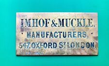 C19th Church Pipe Organ & Orchestrion Builder Name Plate - Imhof & Muckle London