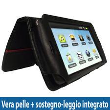 Nero Vera Pelle Custodia per Archos 43 Internet Tablet Case Cover Protezione