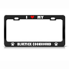 Bluetick Coonhound Paw Love Heart Pet Dog Metal License Plate Frame Tag Holder