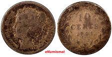 Netherlands Wilhelmina I Silver 1901 10 Cents SCARCE 2 YEAR TYPE  KM# 119
