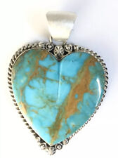 Native American Sterling Silver Navajo Kingman Turquoise Heart Pendant.