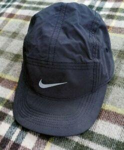 Nike AW84 5 Panel Cap Hat Camp Running Reflective Sportswear Gray Black