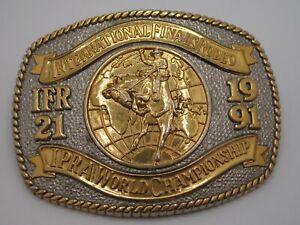 Gold & Silver 1991 International Finals Rodeo (IFR 21) Collectors Belt Buckle