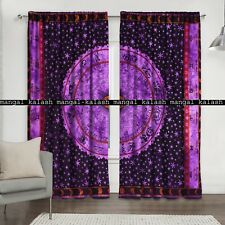 Zodiac mandala indian cotton tab top door curtain window bedroom valances set