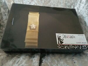 NEW in box Studio His & Hers Bridal Guest Book black&gold with pearl accent $29