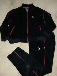2 PC Suede Track Suit SZ Mens LG Basketball Logo