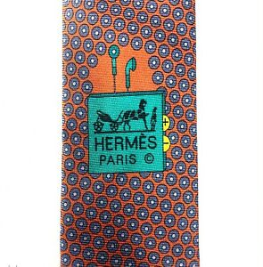Authentic Hermes Paris 645794 HA Tie Cravate Orange Hermes Pattern Tie 100% Silk