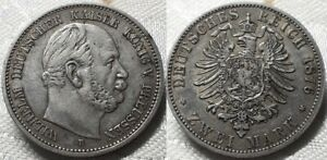 GERMAN STATE - PRUSSIA 1876 B WILHELM I 2 MARKS SILVER (0,900) HIGH GRADE COIN