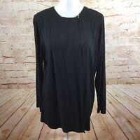 J. Jill Wearever Collection Long Sleeve Black One Button Top Size Medium