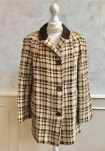 Vintage AIRETON 1950s 1960's Cream Check Wool Tweed Retro Winter Blazer Jacket L