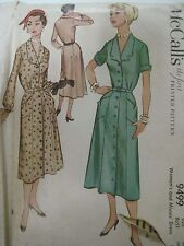 Vintage 50's Simplicity 9499 FRONT-BUTTONED DRESS Sewing Pattern Women Size 40