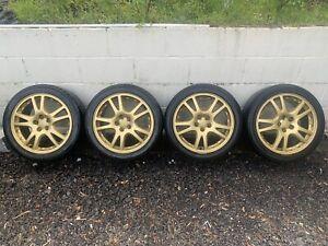 Subaru Impreza WRX STI 5x100 Gold Wheels and Tyres