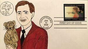 2002 Mentoring A Child 34 Mister Fred Rogers FDC Hand Drawn Cachet Daniel Tiger