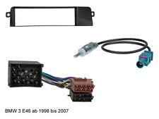 BMW E46 3er ab 1998 bis 2007 Rahmen Blende Einbaurahmen Set ISO Stecker Kabel