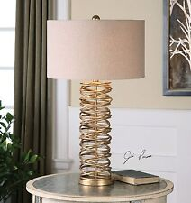 """NEW 30"""" METAL RINGS TABLE LAMP ANTIQUED SILVER CHAMPAGNE FINISH LINEN SHADE"""
