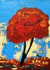 ORIGINAL Landscape Naive Self Taught Folk  OUTSIDER Mary Carol art MCW Primitive