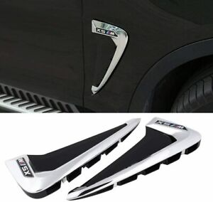 2PCS Glossy Silver Auto Side Fender Air Vent Cover Trim Refit for BMW X5 F15 F85