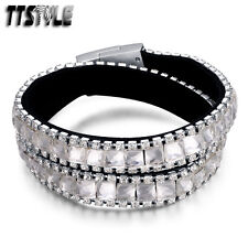 TTstyle Double Row Black Leather Stainless Steel Magnet Buckle Bracelet NEW