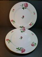 "SET OF TWO RALPH LAUREN DAPHNE Fine China 10.5"" Dinner Plates Roses EUC"