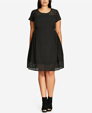 City Chic Sweet Texture Black Fancy Stylish Plus Size M (18) Fit & Flare Dress