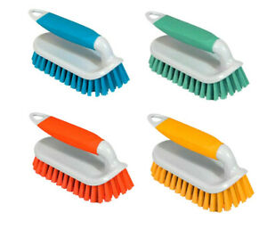 Scrubbing Brush / Hand Held Cleaning Brush Available In Orange Blue Yellow  Mint