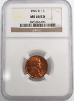 :1949-D 1C LINCOLN CENT LOW POP KEY DATE NGC MS-66 FLAMING RED HIGHEST GRADES