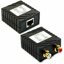 2 RCA Audio Cable Extender Balun - Up To 300m CAT5e/CAT6 - Phono Long Distance