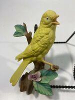 "Vintage Yellow Canary Bird Floral Figurine 6"" x 3"" Ceramic"