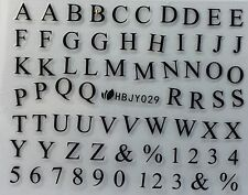 Nail Art 3D Decal Stickers Alphabet Letters Black HBJY029