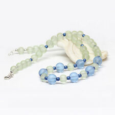 Blue Green Sea Glass Necklace, Beaded Necklace, Cultured Sea Glass