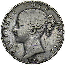 More details for 1845 crown (edge holed) - victoria british silver coin
