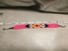 Pink Native American beaded bracelet Navajo design