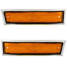 Pair Set Side Marker Lights Amber Lens w/ Chrome Trim for 81-91 GMC Chevy Pickup