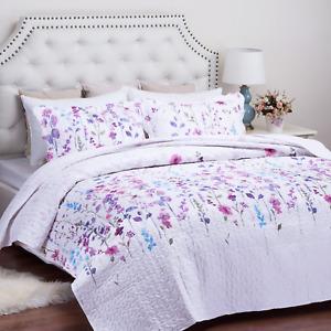 Bedsure King Size 106x96 inches 3-Piece Quilt Set Coverlet, Lilac Flower Design