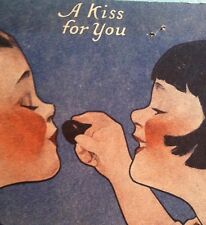 "Antique HERSHEY KISS ADVERTISING Card Art Deco Boy and Girl ""A Kiss For You"""