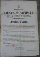 1876 176) MANIFESTO DI ASTA MOMPIANO DI BRESCIA CON METODO DEI 'PARTITI SEGRETI'