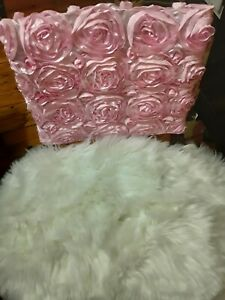 Pink Floral rosette chair topper -New in plastic