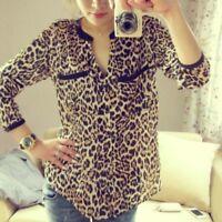 Fashion Women Leopard Print Long Sleeve Chiffon V Neck Shirt Casual Tops Blouse