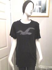 "HOLLISTER - NAVY BLUE ""LOGO"" T-Shirt size  LARGE- 100% COTTON"