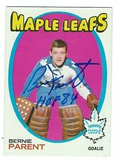 Autographed 1971-72 Topps BERNIE PARENT Maple Leafs Card #131 w/ Show Ticket