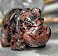 Mahogany Obsidian Baby Hippo Spirit Animal Totem Fetish Figurine Hand Carved 727