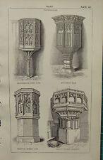 1850 antico stile architettonico gotico stampa ~ CABINA wolvercot handborough Frampton