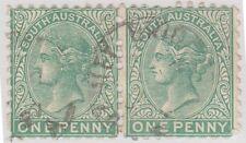 (U165) 1868 SA 1d green vertical pair QVIC