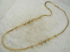 Bead Chain Necklace (C57) Goldtone Filigree & Nugget