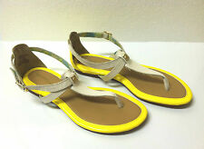 SPERRY TOP SIDER Summerlin Thog Sandal Leather Ivory Neon Yellow 6.5